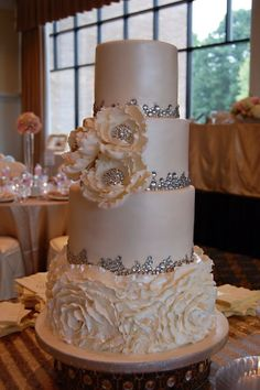 Pearl Wedding Cake with rhinestones and ruffles