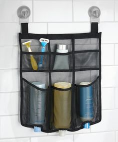 Another great find on #zulily! Black Una Power Lock Shower Caddy  This ready-to-hang mesh caddy installs in a flash thanks to two power lock suction cups. Multiple pockets stow all of your bathing essentials to keep your shower clutter-free.  Includes caddy and two suction cups 15.75'' W x 18.5'' H x 1.5'' D Mesh / plastic Imported #zulilyfinds