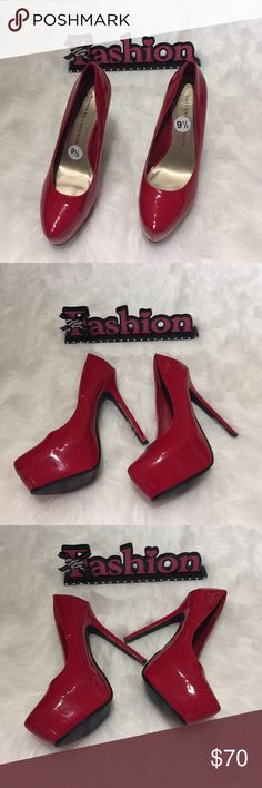 """😍 Sexy Chinese laundry red pumps heels club shoes Sexy Chinese laundry red pumps heels club shoes. Size 9.5 . Color: Red. Hidden platform. New without tags. Never been worn 😍 Faux patent leather Extra comfort padded insole and platform : 1¼"""" platform, 5"""" covered stiletto Rubber sole Chinese Laundry Shoes Heels"""