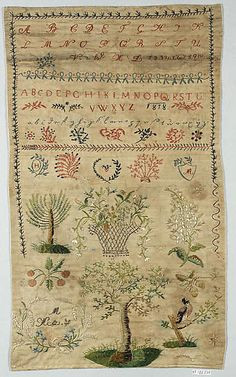 Sampler Date: 1818 Culture: Austrian Medium: Linen, silk and metal thread on linen Dimensions: H. 20 1/8 x W. 12 1/4 inches (51.1 x 31.1 cm) Classification: Textiles-Embroidered