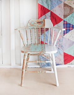 No. 33 Chippy & Distressed Mint Painted Chair Dipped por fiveoeight