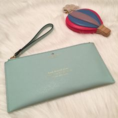 "NWT kate spade Wedding Belles/BFF Wristlet! NWT kate spade ""Wedding Belles"" Adra Zip Pouch (Wristlet). Print reads ""best friend ever (noun): \'best 'frend' eh-ver\ official side kick. Color: Grace Blue. This would make an amazing gift for your BFF: not just for hers or your wedding, but for any special occasion or just to say ""I love you!""  MATERIAL: crosshatched leather with matching trim FEATURES: wristlet with zip top closure interior slide pocket; embossed ksny signature and light gold…"