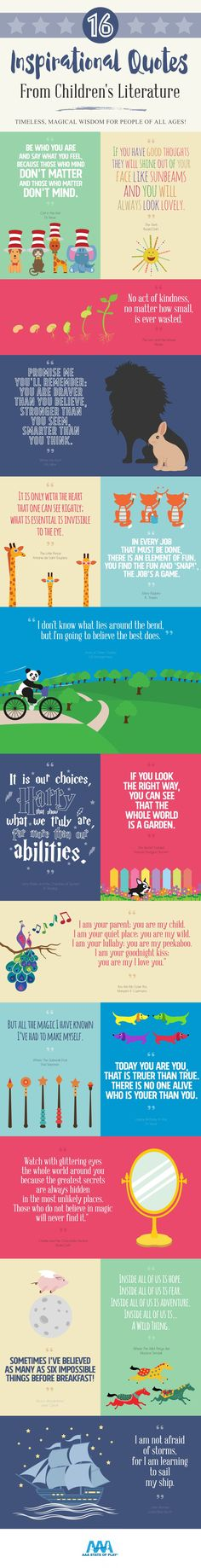 16 Inspirational Quotes from Children's Literature [by AAA State of Play -- via #tipsographic]. More at tipsographic.com