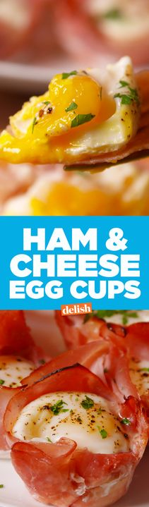 Ham & Cheese Egg Cups are our favorite new low-carb breakfast. Get the recipe from Delish.com.