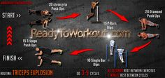 Triceps Explosion Workout Routine #bodyweight_workout #triceps_workout #triceps_bodyweight_exercises #triceps_exercises #streetworkout #calisthenics #readytoworkout Bodyweight Workout Routine, Triceps Workout, Workouts, Neila Rey, Street Workout, Body Weight, Push Up, Exercises, Batman