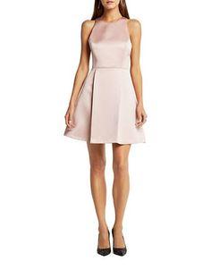 Bcbgeneration Satin Fit-and-Flare Dress Women's Rose Smoke 10
