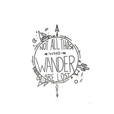 """Easy Drawings - """"Not all those who wander are lost."""" This amazing quote from J.R Tolkien makes us all want to wander the world ourselves. Accented with cacti, mountains and the sea it encompasses all the places us wanderers may want to go. Jrr Tolkien, Art Inspiration Drawing, Logo Design Inspiration, Tattoo Inspiration, Drawing Tips, Drawing Sketches, Drawing Ideas, Dna Drawing, Figure Drawing"""