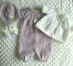 Knitted romper set in cashmere merino silk 16-17  reborn doll /prem baby