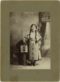 Cabinet Card Photograph Young Girl in Traditional Native American  Indian Costume ca 1900s