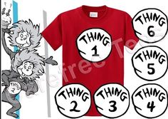 Thing 1, 2 and 3 shirts in different sizes!