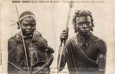 Akikuyu types - a youth and a girl with her little brother on the back - BY: Italian Missions (British East Africa) - African Image, African Art, Kenya Africa, East Africa, African Culture, African History, Tribal Warrior, African Tribes, African Masks
