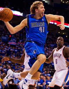 Dirk Nowitzki feeling the flow....stick that tongue out