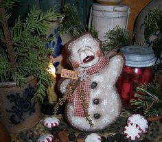 "Primitive Patti's Ratties Gingerbread 7"" Christmas Snowman Ornament Bear Doll"