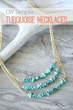 DIY Simple Turquoise Necklaces - The Crafted Sparrow #DIYJewelry #FashionJewelry