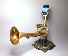 Isn't this wild? A great way to amplify the sound from an #iPhone! analog-tele-phonographers-christoper-locke-2