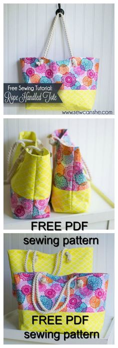 FREE downloadable pdf bag sewing pattern. These rope handled totes are awesome bags. They aren't huge. They are only about 10'' tall and 16'' wide but they hold a LOT of stuff. And to top it off they are pretty! Seriously. This could be your new purse, gy