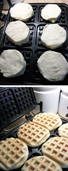 #23. Canned Biscuit Waffles (Awesome! That's so easy.) -- 30 Super Fun Breakfast Ideas Worth Waking Up For