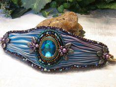 BLUE LAGOON Bead Embroidered Shibori Silk Cuff Crystals