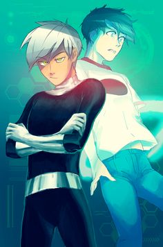 """dahaebaik: """" danny phantom print! """" (Does this remind you of Bipper and the ghost-sock puppet version of Dipper, too?)"""