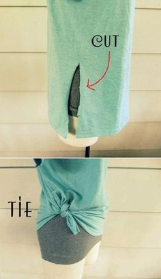 Tie a knot with the two parts of the slit in a t-shirt.great for too big t-shirts! I seem to end up with alot of huge shirts! Cut Up T Shirt, Cut Shirts, Band Shirts, Shirt Hacks, Diy Vetement, Clothing Hacks, T Shirt Diy, Diy Tshirt Ideas, Diy Fashion