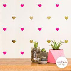 Vinilos decorativos con forma de Corazones Furia y Dorado #vinilos #decorativos #infantiles #trama #deco #decoracion #vinilodecorte #corte #pared #corazon #dorado #fuxia
