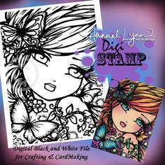 PRINTABLE Digi Stamp April Fairy Butterfly Coloring Page Fun Fantasy Art Hannah Lynn