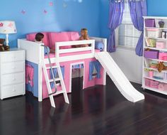 how cute! play house loft bed with a  slide.. <3 it!