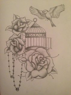 realistic bird tattoos with cage - Google Search