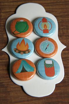 Handmade Flair Badges/Buttons - 1 inch - camping fun (6). $3.99, via Etsy.
