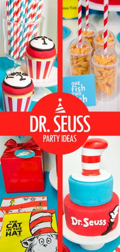 Every child loves Dr. Seuss, and Dr. Seuss party ideas are great for birthdays! Complement red and blue Dr. Seuss party supplies with a cute Dr. Seuss birthday cake – fondant shapes and the Cat in the Hat's hat on top are two perfect cake decorating ideas. You can decorate Dr. Seuss cupcakes to look like Thing 1 and Thing 2 as well, and goldfish crackers (One Fish, Two Fish…) make great appetizers. Get more ideas on how to celebrate your birthday with Dr. Seuss party ideas on Birthday Express.