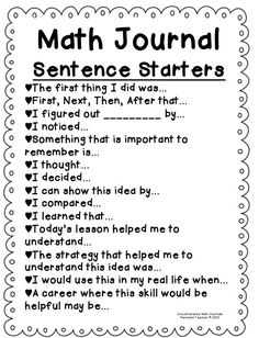Math journaling sentence starters...Great idea! by fay.m.sandoval