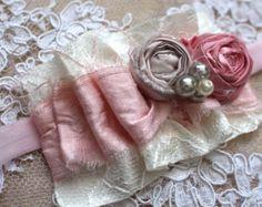Shabby Chic diadema diadema rosa y Champagne por AldonasBoutique
