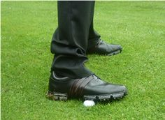 Place golf ball under outside of back foot. Take some practice swings and hit balls. Remember to allow your foot to come off the ball naturally in your follow through.