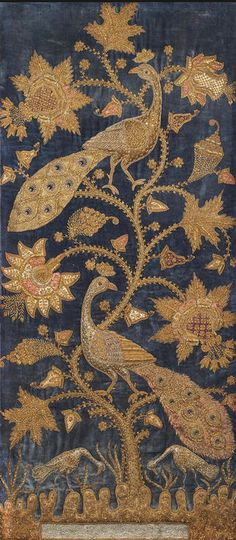 A metal thread-embroidered velvet Panel Northern India, circa 1900 - blue velvet ground profusely embroidered with silver and gold thread with a flowering plant with two perching peacocks, beneath the plant a pool and two stalks 110 x 48 cm. Textile Design, Textile Art, Textile Tapestry, Tapestries, Motifs Textiles, Indian Textiles, Passementerie, Gold Embroidery, Gold Work