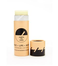 earthtuface - SKIN STICK.  Our all-purpose skin salve for face, lips & body. Provides protective hydration packaged in a 100% compostable tube. Zero plastic. Geranium prevents & fades scarring. Vetiver promotes cellular healing. Pure Beeswax heals and protects skin.