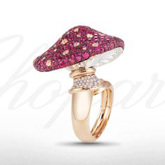 A magical mushroom ring from the Red Carpet Collection 2013 set with rubies and diamonds.