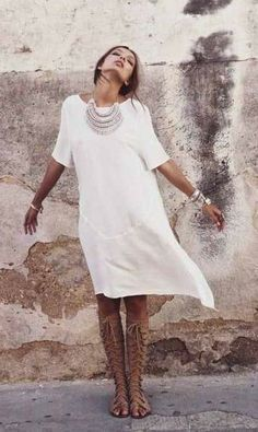 gladiator sandals white linen cotton tunic sundress necklace summer outfit