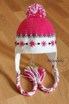Bright Pink and White Warmth Crochet Kids Hats, Crochet Beanie Hat, Crochet Wool, Crochet Cap, Crochet Quilt, Crochet Girls, Knitted Hats, Crochet Stitches Patterns, Crochet Projects