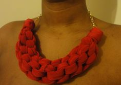 DIY Straight Knot Necklace. Fabric Knot Necklace