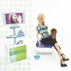 Fashion Fever flat screen tv & ottoman playset. HTF candle grouping.