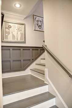 Staircase Detail - Gray Painted Stairs and Railing, Gray Wainscoting. {Love this style for our basement stairs. The wainscot makes a huge difference, as does the two-tone stairs. Style At Home, Painted Stairs, Painted Wainscoting, Wainscoting Ideas, Basement Wainscoting, Painted Floors, Basement Bathroom Ideas, Painted Panelling, Stairway Wainscoting