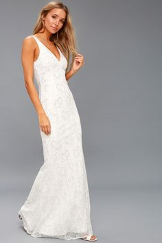 Make a stunning statement in the Gleam and Glam White Lace Maxi! Metallic floral lace overlays this white maxi dress with a V-neck and back. White Lace Maxi Dress, Cute White Dress, Sequin Maxi, White Dresses For Sale, White Gowns, Little White Dresses, Outfits, Wedding Shit, Wedding Ideas