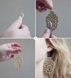 DIY Charming Lace Earrings - lace appliques, fabric stiffener
