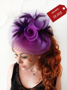 Purple Fascinator  Purple Wedding Fascinator by MissCocoBoutique