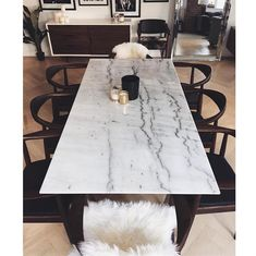 Corra Modern White Marble Brushed Steel Dining Table | Kathy Kuo Home