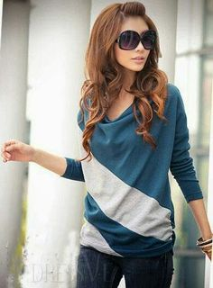 Blue and white striped slouchy sweater... love it!!