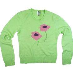 "BARNEY'S 100% Cashmere Green Intarsia Sweater Excellent condition. This line green floral intarsia sweater from Barneys Co-Op features a pink floral design in front and crew neckline. 100% Cashmere. measures: Bust: 37"", Total Length: 23"", Sleeves: 24"" Barneys New York CO-OP Sweaters Crew & Scoop Necks"