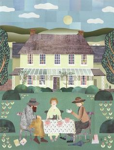 "Amanda White, ""A Bloomsbury Tea Party"",   Lytton Strachey and Carrington (and Tiberius) enjoying a nice cup of tea with Virginia Woolf in the garden of their Wiltshire home, Ham Spray House. Cut Paper Collage, 50cm x 38cm"