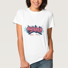 Women hip hop t-shirt featuring the name Ashley in graffiti