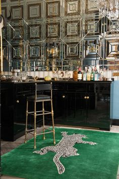 Climbing Leopard by Diane von Furstenberg for The Rug Company Black lacquered bar